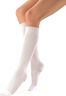 JOBST soSoft 15-20 mmHg Knee High Compression Socks, Ribbed Pattern, White, Large