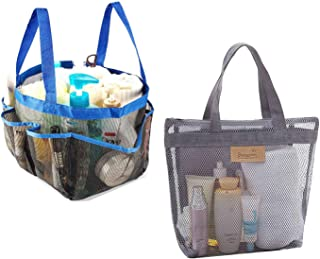 2 Pack Mesh Shower Caddy Shower Tote Bag with 8 Mesh Storage Pockets Shower Caddy Bag Bath Organizer for College dorms Gym Shower Swimming Travel and Daily (Blue)