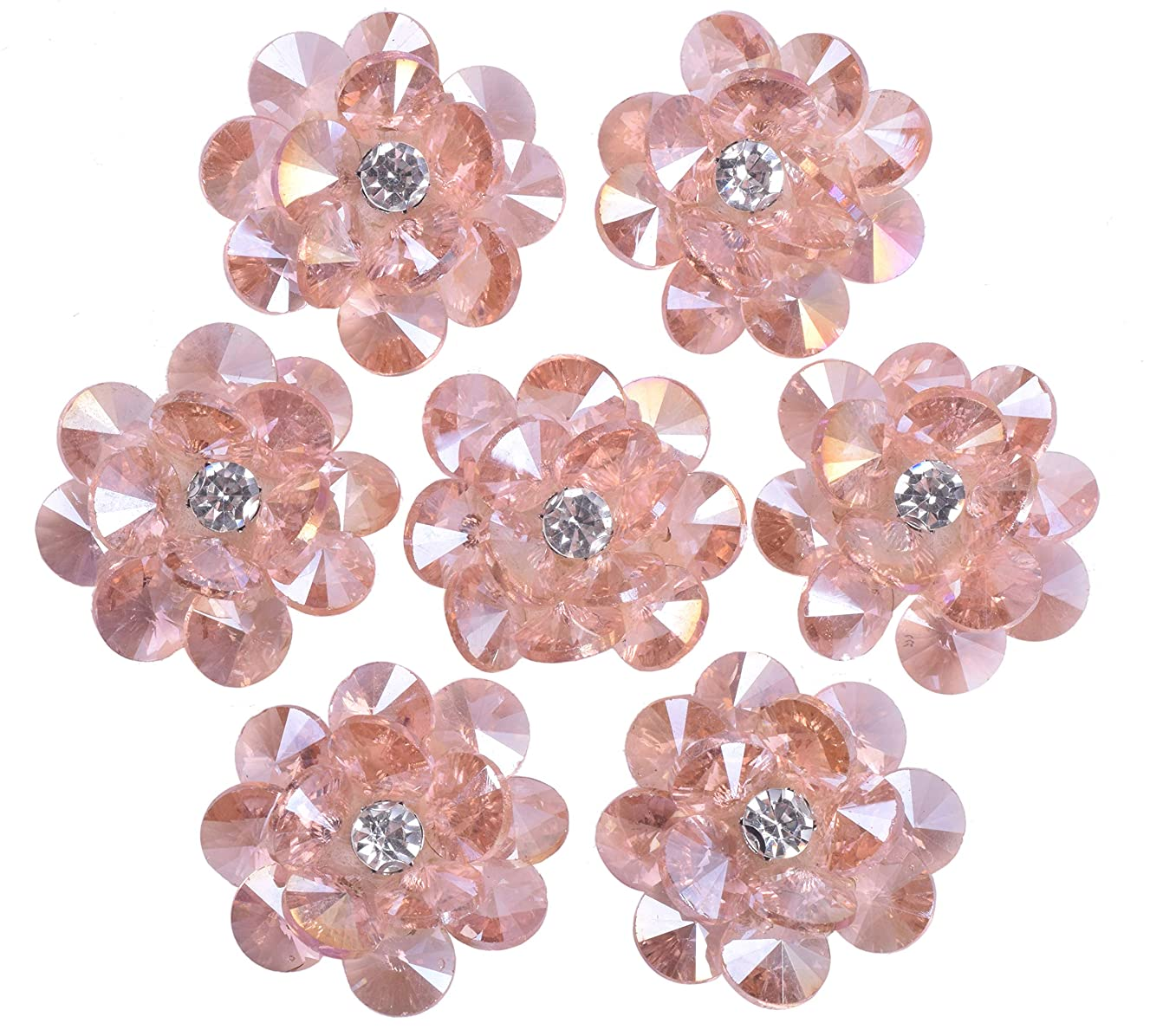 KAOYOO 10 Pcs Flowers Crystal Beads Accessories Sew on Shoes,Clothing,Hat(Light Rose)