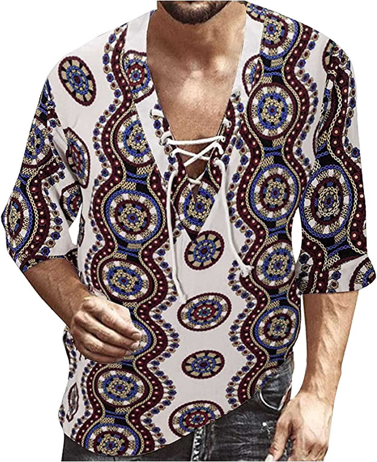 WOCACHI Henley Shirts For Mens, Lace-up Hippie V Neck Linen Cotton Beach T-Shirts Half Sleeve Casual Soft Tee Tops