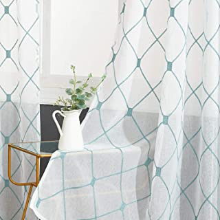 Top Finel White Sheer Curtains 84 Inches Long Teal Embroidered Diamond Grommet Window Curtains for Living Room Bedroom, 2 Panels