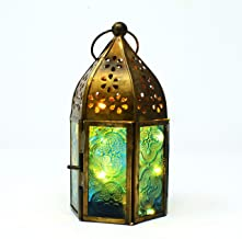 Hashcart Metal Glass Moroccan Style Table Top Tea Light Candle Holder, Hanging Lantern with Rice Light, 5 metre Long for Table Decor, Home Living Room & Office
