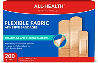 All Health Flexible Fabric Adhesive Bandages, Assorted Sizes, 200Count