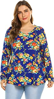 Zeagoo Womens Plus Size Long Sleeves Floral Tunic Shirts Fall Round Neck Casual Dressy Blouse Tops