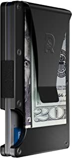 Slim Minimalist Front Pocket RFID Blocking Metal Wallets for Men with Money Clip (Black)