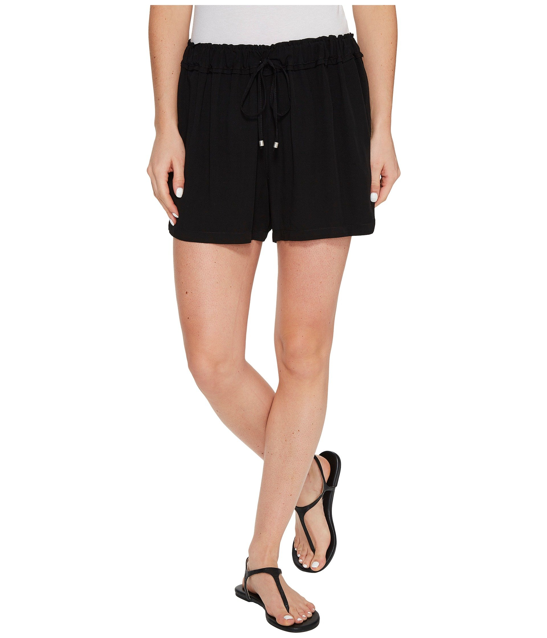 SPLENDID Ruffle Waist Shorts, Black