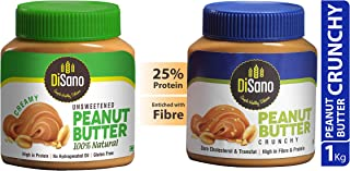 DiSano All Natural Peanut Butter, Creamy, 30% Protein, Unsweetened, Gluten Free, 1 Kg + DiSano Peanut Butter, Crunchy, 25%...
