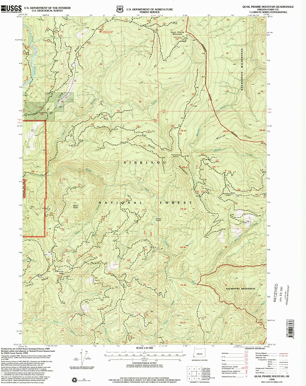 Quail Prairie Mountain OR topo map, 1 24000 Scale, 7.5 X 7.5 Minute, Historical, 1998, Updated 2001, 26.7 x 21.9 in