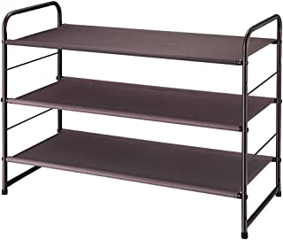 Simple Trending 3-Tier Stackable Shoe Rack, Expandable & Adjustable Fabric Shoe Shelf Storage Organizer, Bronze