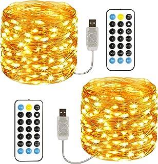 TOPYIYI Guirnalda Luces, [2 Pack] 120 LED 12M Cadena de Luces USB Impermeable IP65, Luces Navidad y Luces de Hadas para De...