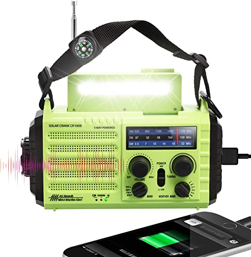 Updated 5000mAh 5-way Powered AM/FM/SW/NOAA Weather Alert Radio, Portable Emergency Solar Hand Crank Radio with Phone Charger, SOS Alarm/LED Flashlight/Reading Lamp/Compass for Camping Travelling Home