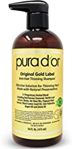PURA D'OR Original Gold Label Anti-Thinning Shampoo Clinically Tested, Infused with Argan Oil, Biotin & Natural Ingredients, Sulfate Free, All Hair Types, Men and Women, 16 Fl Oz (Packaging may vary)