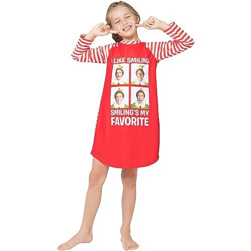 450508e611 Elf the Movie  Will Farrell Santa  Holiday Christmas Fleece Raglan  Nightgown Sleepshirt Pajama