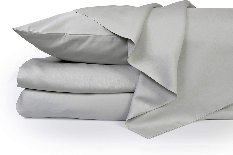 ZENLUSSO Bed Sheet Set Luxury 100% Bamboo Sheets - Hypoallergenic, Deep Pockets, Silky Soft (Grey, California King)