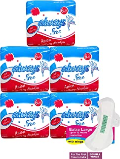 Always Free Anti-Bacterial and Biodegradable Anion Ultra Thin Sanitary Pad/Napkins with Wings (XL-280 mm) 6 Pads Per Pack,...