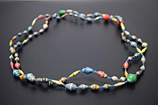 African Necklace Made of Recycled Paper Large Beads - Handcrafted in Uganda - Multicolored