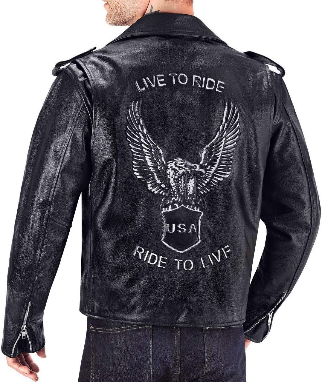 Viking Cycle American Eagle Premium Grade Cowhide Leather Motorcycle Jacket for Men (Medium)