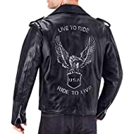 Viking Cycle American Eagle... Viking Cycle American Eagle Premium Grade Cowhide Leather Motorcycle Jacket for Men (Large)