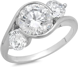 14 karat white gold cubic zirconia rings