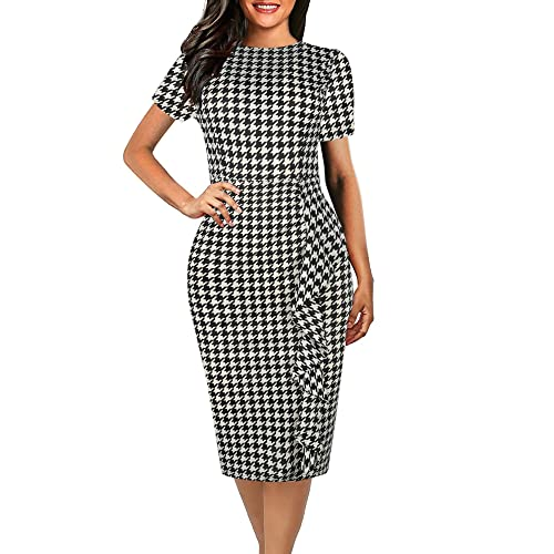 3642bff51 oxiuly Women's Vintage Polka Dot Floral Patchwork Stretchy Work Casual  Bodycon Sheath Pencil Dress OX055
