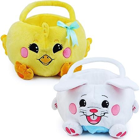 JOYIN 2 Packs Easter Plush Basket Set for Easter Eggs Hunt, Easter Bunny Basket Gift Baskets Bags for Kids, Kids Easter Party Favor (Yellow, White)