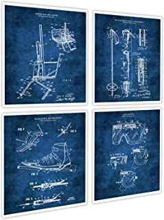 Gnosis Picture Archive Skiing Decorations For Home Set of 4 Unframed Ski Patent Prints in Blue Patents_SKi_Blue4A