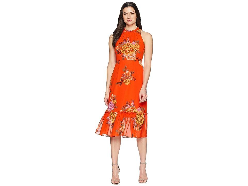 Donna Morgan Printed Chiffon Midi Dress with High Neck (Orange/Lavender Multi) Women
