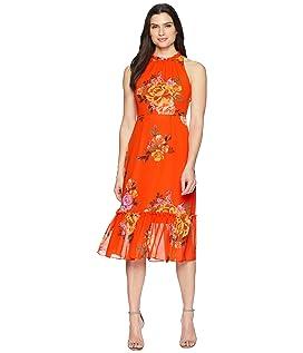 Printed Chiffon Midi Dress with High Neck
