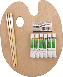 US Art Supply® Wood Palette with 6-Piece Acrylic Paint Set & 3-Piece Brush Set