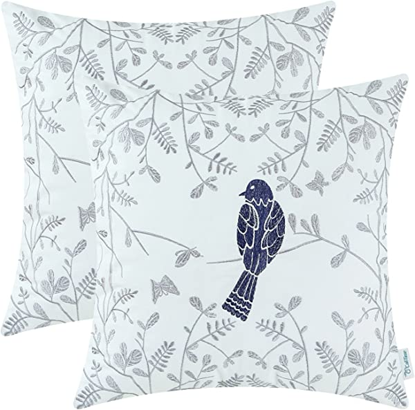 CaliTime Pack Of 2 Cotton Throw Pillow Cases Covers For Bed Couch Sofa Cute Bird In Gray Garden Embroidered 16 X 16 Inches Navy Blue
