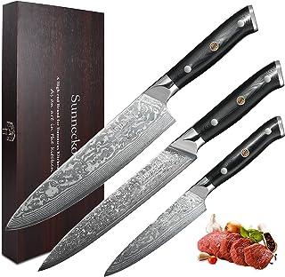 Sunnecko Set Couteau Cuisine Couteaux Damas 3 Pcs- Couteau de Chef + Couteau à Trancher + Couteau Tout Usage Set Couteaux ...