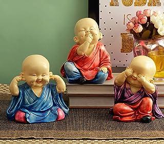 TIED RIBBONS Buddha Monks Statue Figurine Statue for Home Décor - Buddha Statue Monk Figurine, Set of 3 Buddhist Monk Stat...