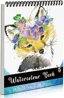 KidsPark Papier Aquarelle A4 Cahier de Dessin Professionnel, Carnet de Dessin a4 Spirale Papier Dessin Carnet Aquarelle po...