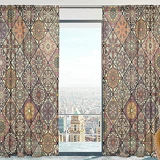 SAVSV Window Sheer Curtains, Bohemian Style Brown Moroccan 55