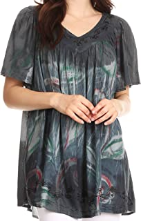 Nia Tie Dye Sequin Embroidered V-Neck Cap Sleeve Blouse/Top