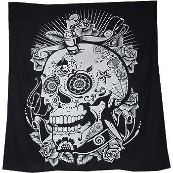 Tapiz Raajsee de algodón indio con diseño de mandala color negra y blanca para colgar en la pared, 220 x 230 cm, algodón, calavera, 220*240: Amazon.es: Hogar