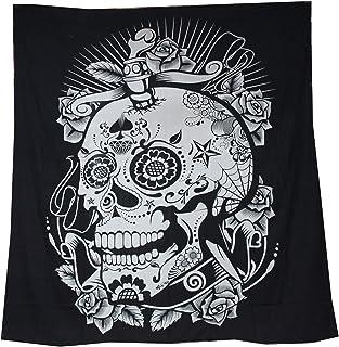 Tapiz Raajsee de algodón indio con diseño de mandala color negra y blanca para colgar en la pared, 220 x 230cm, algodón, calavera, 220*240