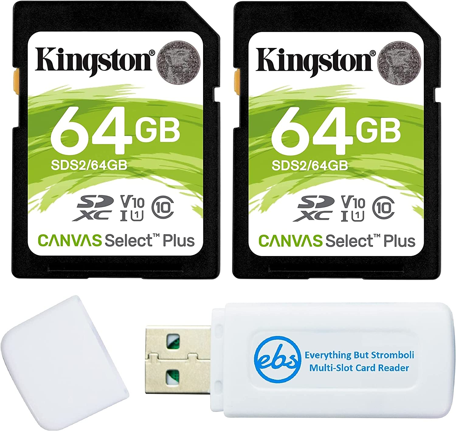 Kingston Canvas Select Plus 64GB SD Memory Card for Camera (2 Pack Bundle) SDXC Card Class 10 UHS-1 U3 100MB/s Read Speed (SDS2/64GB) Bundle with (1) Everything But Stromboli SD & Micro Card Reader