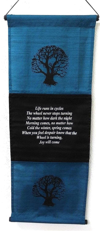 Wimpel Behauptung Banner Chic /& zen Life Runs in Zyklen Flagge Zitat Umgebung 68/cm x 27/cm Blau//T/ürkis