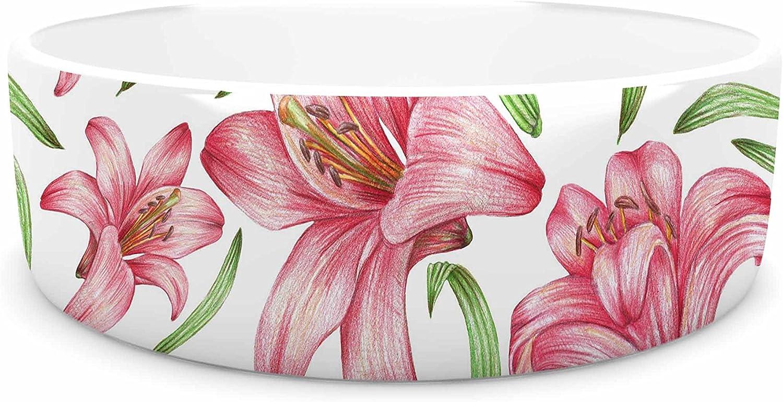 KESS InHouse Alisa Drukman Lily Flowers  Pink Nature Pet Bowl, 7