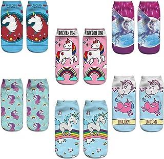Pack de 6 pares de calcetines Tobilleros para Mujer Dibujo de Unicornio