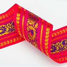 Neotrims Wide India Paisley Peacock Sari Salwar Kameez Craft Ribbon Material 9cm. Peacock Design Indian Ribbon, 9cms. Colourful and vibrant a traditional Sari ribbon Border with floral & Peacock brocade jacquard pattern. 3 Stunning colors to choose from Turquoise; Cerise or Violet.