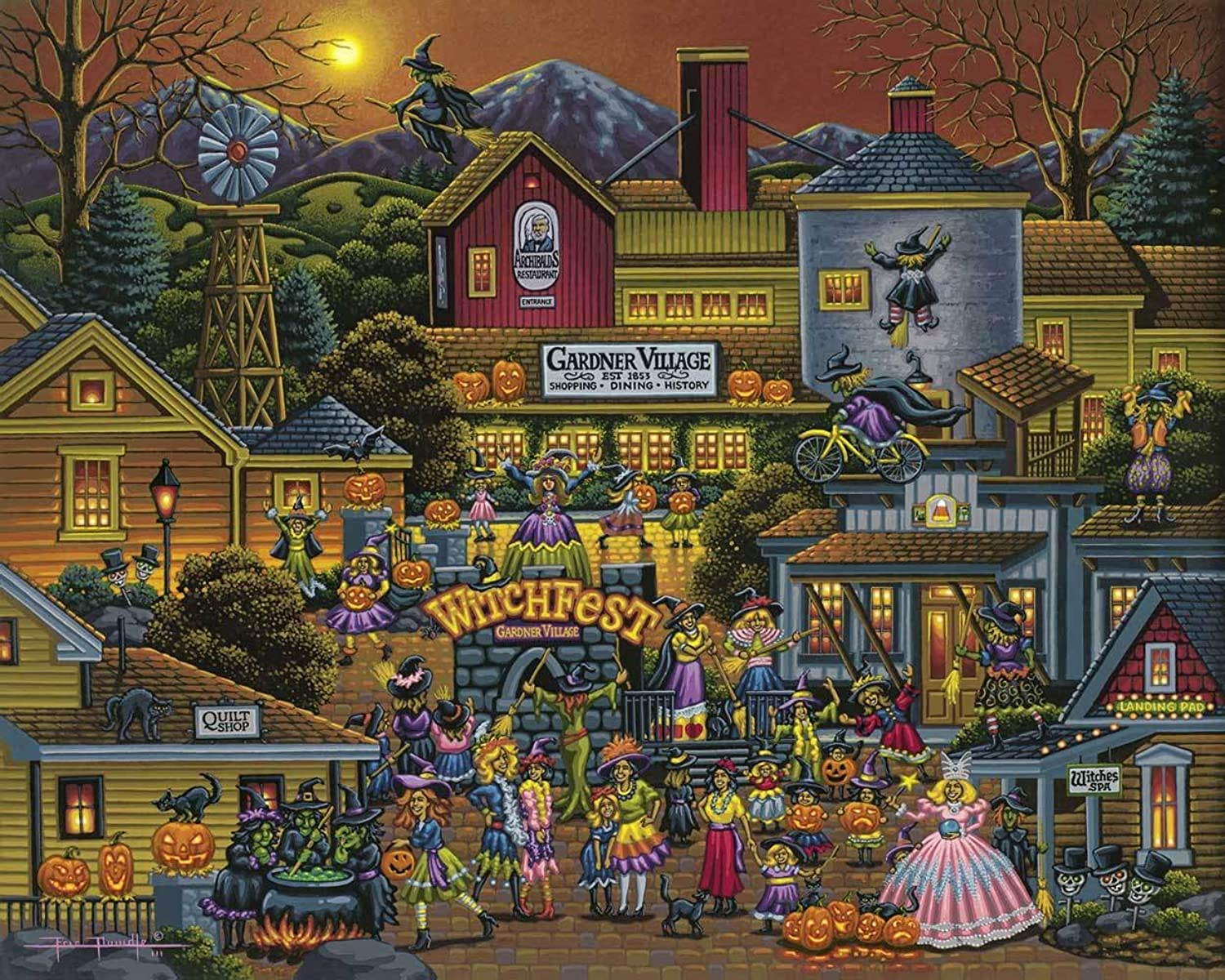 Jigsaw Puzzle - Gardner Village Witchfest 100 Pc By Dowdle Folk Art by Dowdle Folk Art
