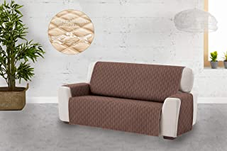 comprar comparacion Textilhome - Funda Cubre Sofá Circus, 3 Plazas, Protector para Sofás Acolchado Color Marrón