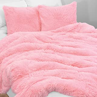 KB & Me Boho Pink Fuzzy Faux Fur Plush Duvet Comforter Cover and Sham 3 pc. Soft Shaggy Fluffy Full/Queen Size Bedding Set...