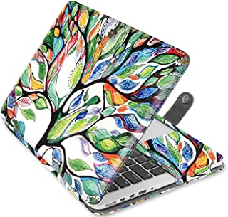 MOSISO Case Only Compatible with MacBook Pro 15 Inch with Retina Display (A1398, Version 2015/2014/2013/end 2012), Premium PU Leather Book Folio Protective Stand Cover Sleeve, Love Tree
