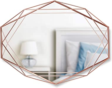 "Umbra Prisma Modern Geometric Shaped Oval Mirror Wall Decor for Bedroom, Bathroom, Living, Dining Room, 22.5"" Length x 17"" He"