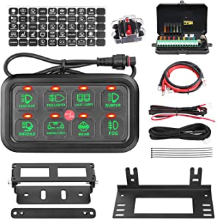 8 Gang Switch Panel, AKD Part Circuit Control Box Universal Jeep Switch Box Wiring Harness Touch Panel On Off Button for Pickup ATV UTV Truck Marine