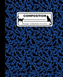 Composition: College Ruled Writing Notebook, Blue Cat Pattern Marbled Blank Lined Book
