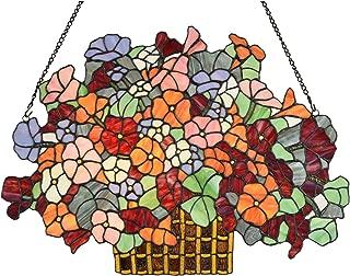 Bieye W10036 Alpine Forget-me-not Flower Myosotis Alpestris Gaily Decorated Basket 24-inch Wide Tiffany Style Stained Glass Window Panel Wall Hangings